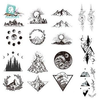 1 Sheet  New Temporary Waterproof Tattoo Sticker Mountains Tree Fake tattoo Body Wrist Art Decoration Black Cool Triangle Tattoo 1