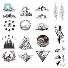 1 лист, новинка, наклейка в виде гор, дерева, искусственная татуировка, искусство на запястье, художественное украшение, черная крутая треуго...