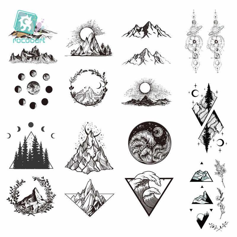 Tatuaje temporal a prueba de agua, 1 hoja, tatuaje falso de árbol de montañas, decoración artística de muñeca corporal, tatuaje triangular negro