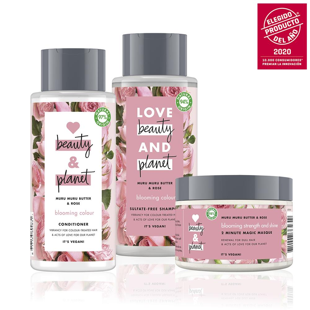 LOVE, BEAUTY AND PLANET Set Sampoo, Conditioner And Mask Vegan Butter Muru Muru And Roses Package 100% Recycled