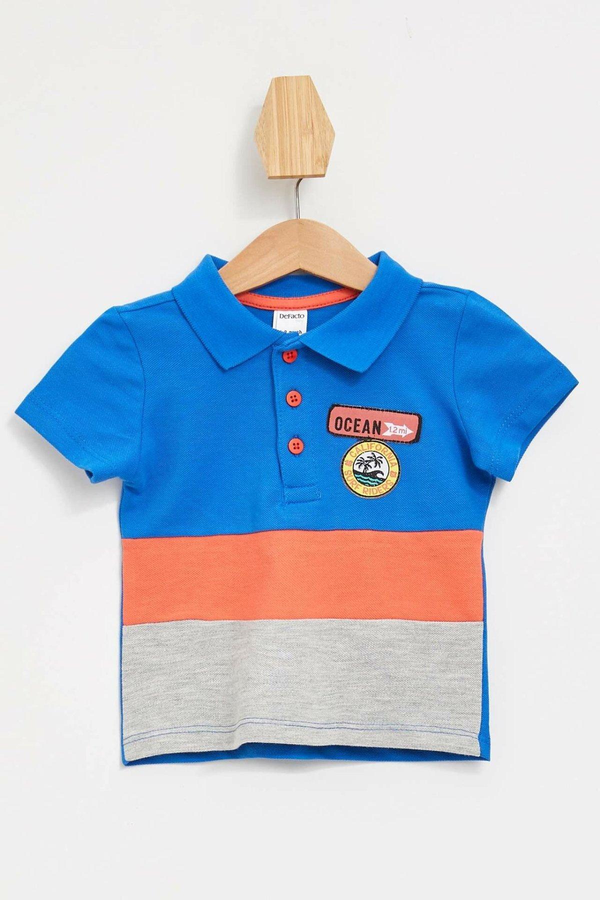 DeFacto Summer Baby Boy Short Sleeve Polo-shirt Kids Casual Striepd T-Shirt Children Comfort Simple Tops New - K8266A219SM