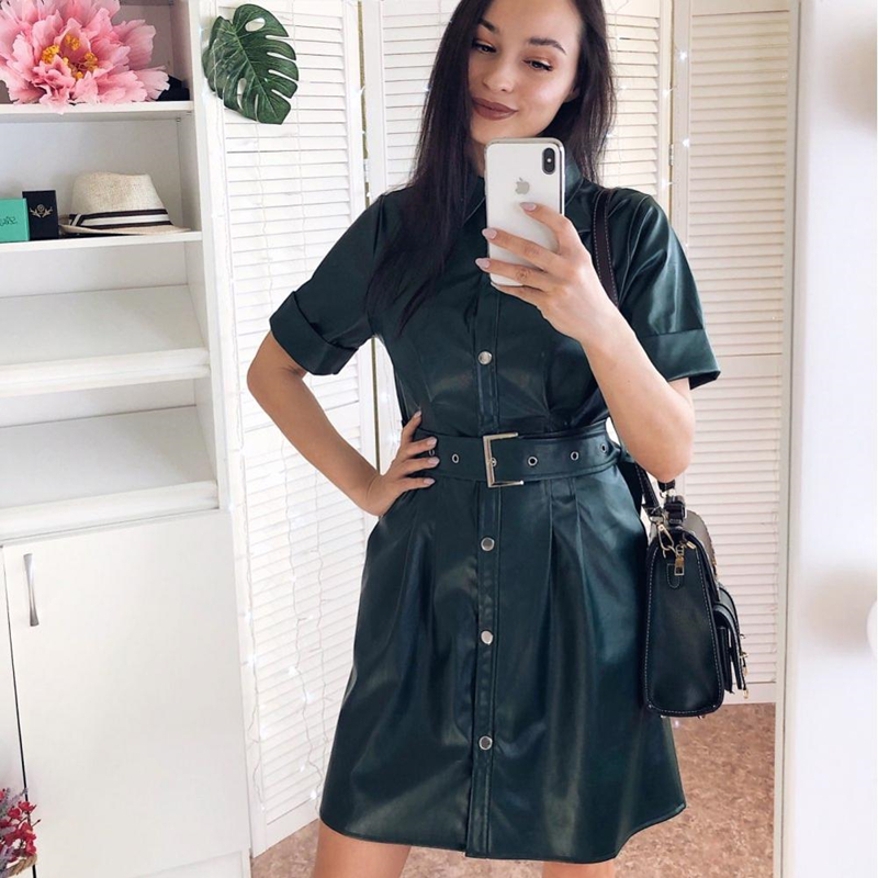 Women Vintage Sashes Front Button A-line Dress Short Sleeve Turn Down Collar Solid Elegant Casual Dress 2020 Early Spring Dress