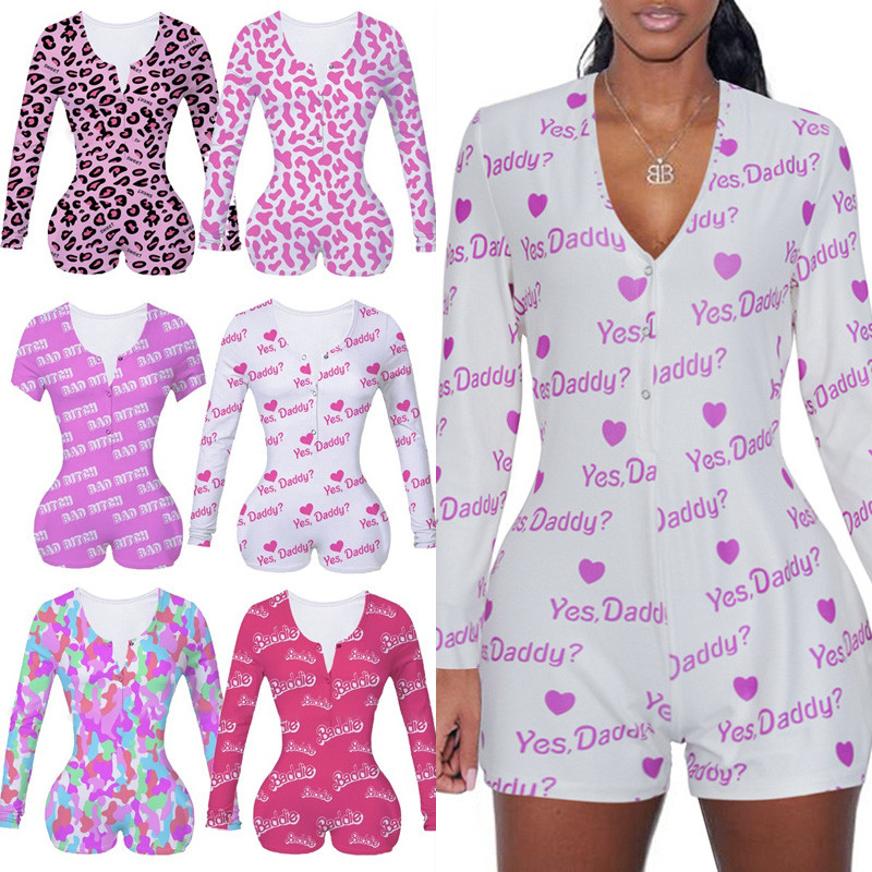 Clearance SaleLingerie Pajama Bodysuit Leotard Short Long-Sleeve Sexy Women Button Slim V-Neck