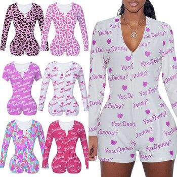Women Bodysuit Long Sleeve Deep V Neck Bodycon Slim Leotard Bodysuit Button Short Pajama Women Sleepwear Jumpsuit Lingerie
