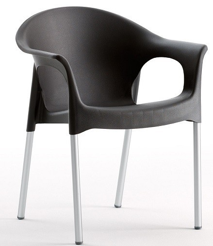 Armchair NILE Aluminum, Stackable, Black Polypropylene *