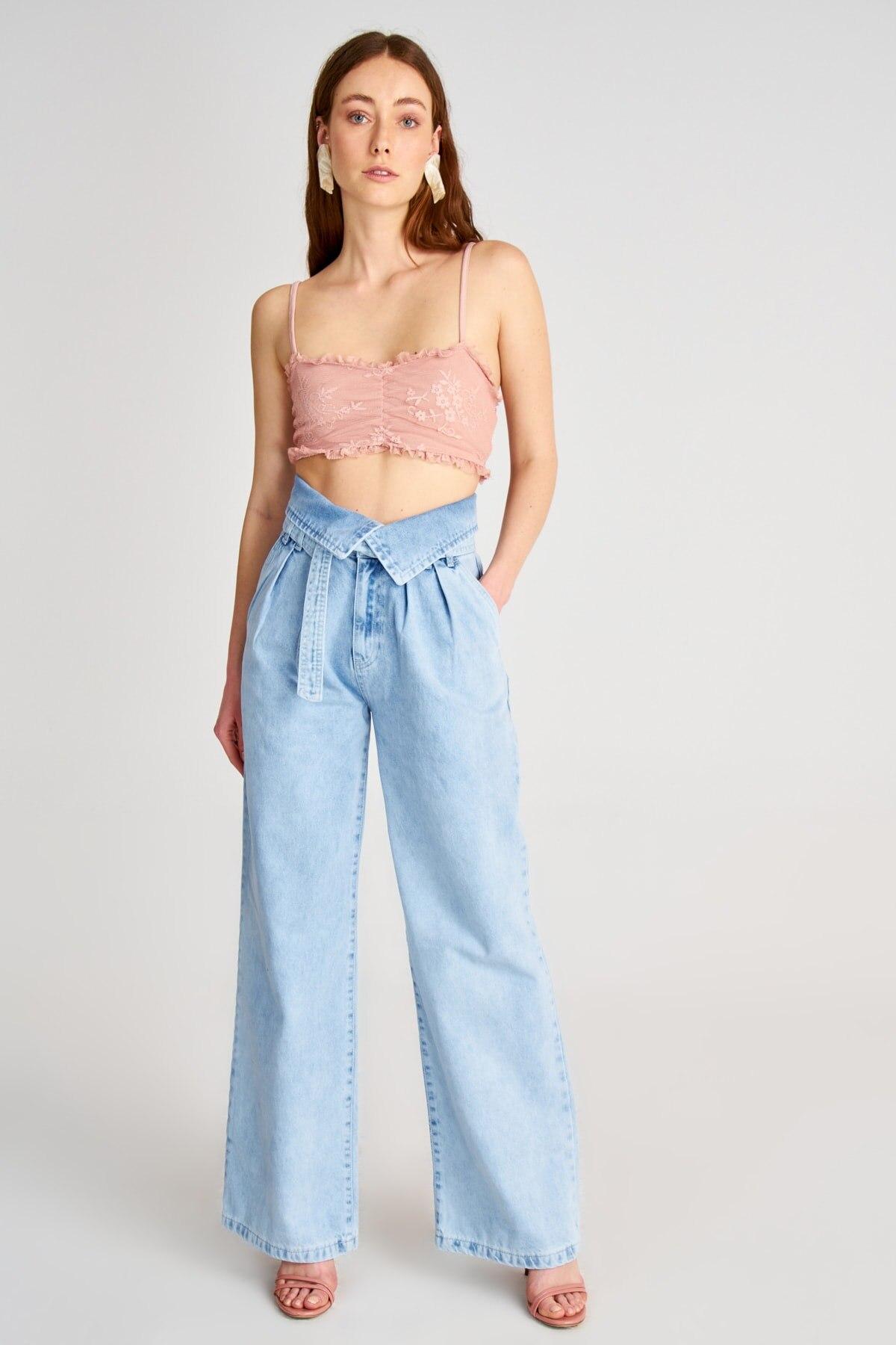 Trendyol Arched Waist Detail Super High Waist Wide Leg Jeans TWOSS20JE0370