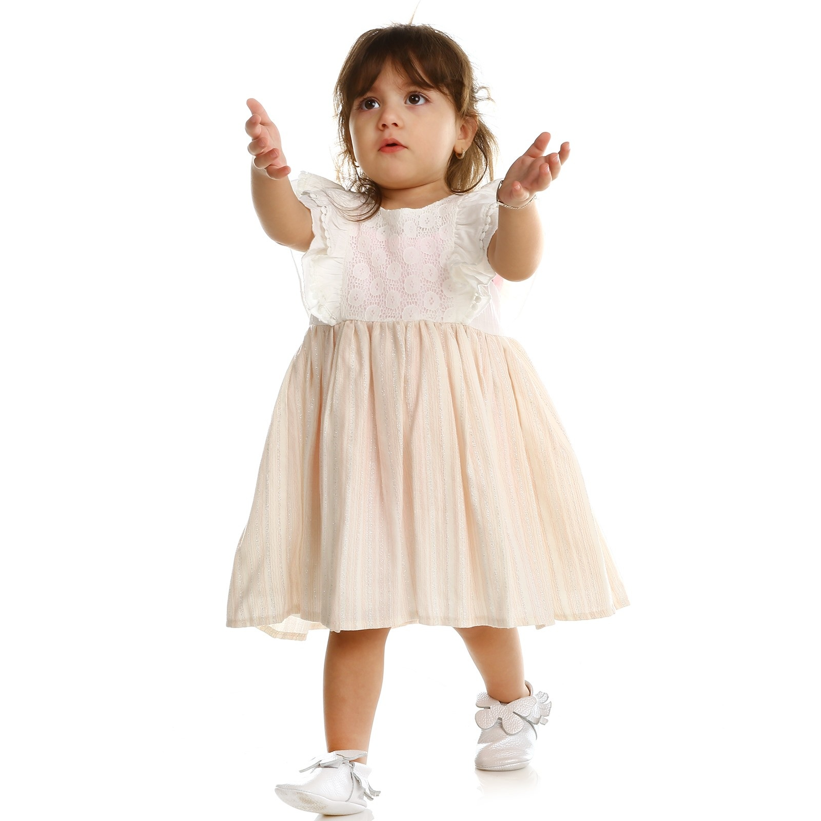 Ebebek Bombili Summer Baby Girl Vual Short Sleeve Crew-Neck Dress