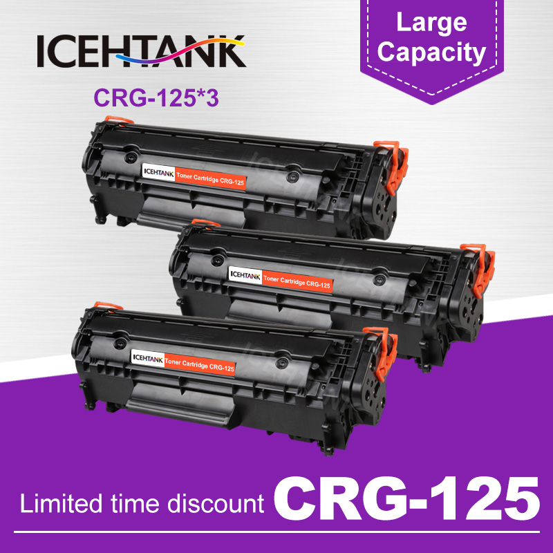 3 Pack Compatible CRG 125 325 725 925 BK Laser Toner Cartridge for <font><b>Canon</b></font> imageCLASS <font><b>LBP6000</b></font> LBP6018WL LBP6030w MF3010 Printers image