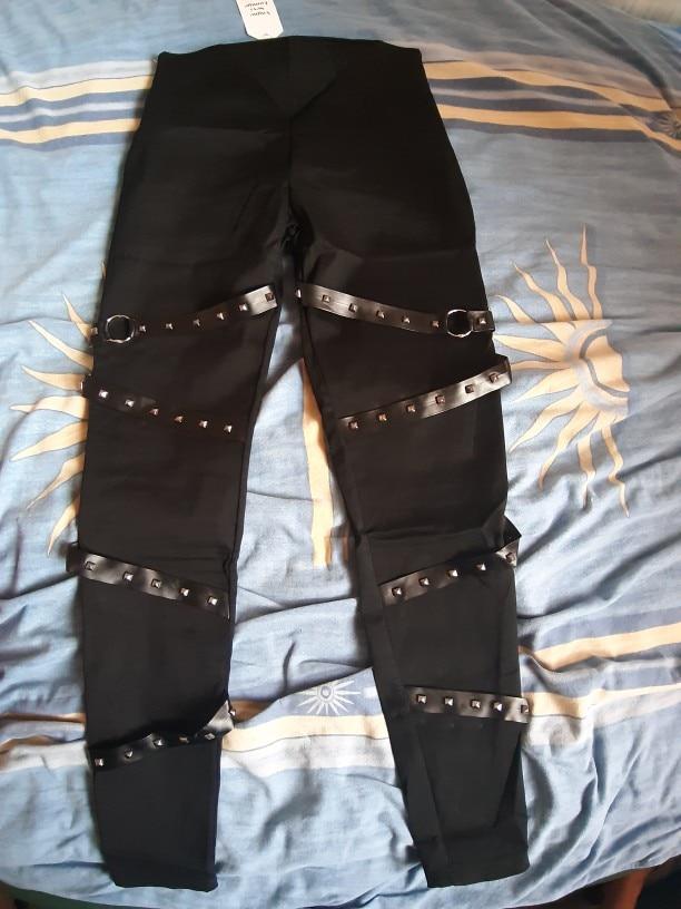 Sweetown Push Up Black Gothic Leggings Women Ribbon With Rivet Patchwork Leggins Mujer Streetwear High Waist Punk Legging Pants photo review