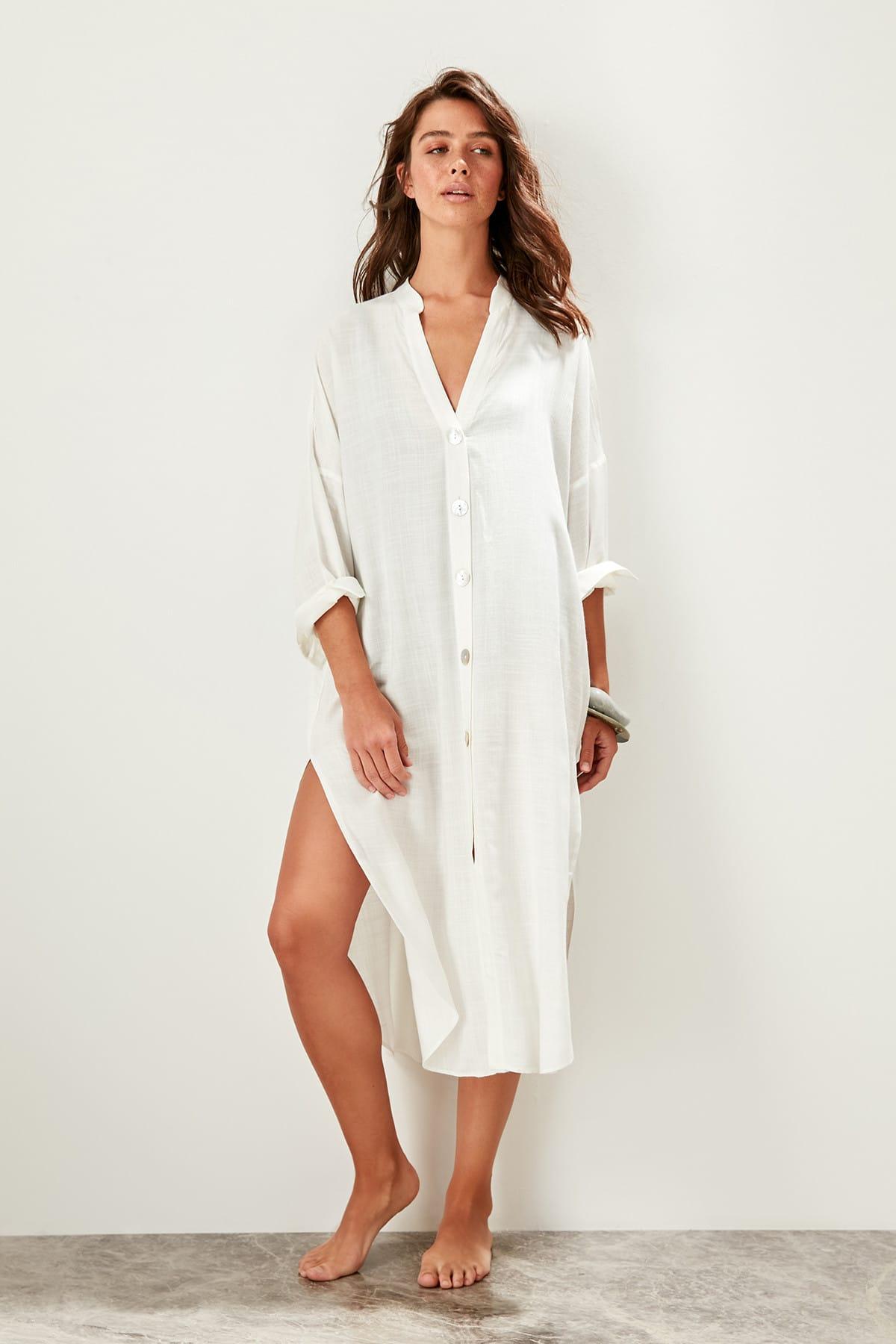 Trendyol Button Shirt Beach Dress TBESS19XM0163