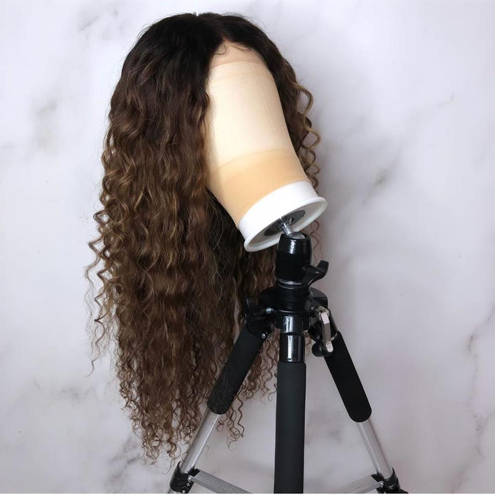 Ombre Color Curly Lace Front Human Hair Wigs With Baby Hair Pre Plucked Remy Brazilian Lace Bob Wigs Bleached Knots