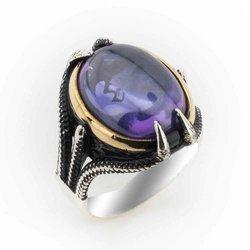 الزركون الأرجواني بومبي الأحجار الكريمة مخالب خاتم فضة