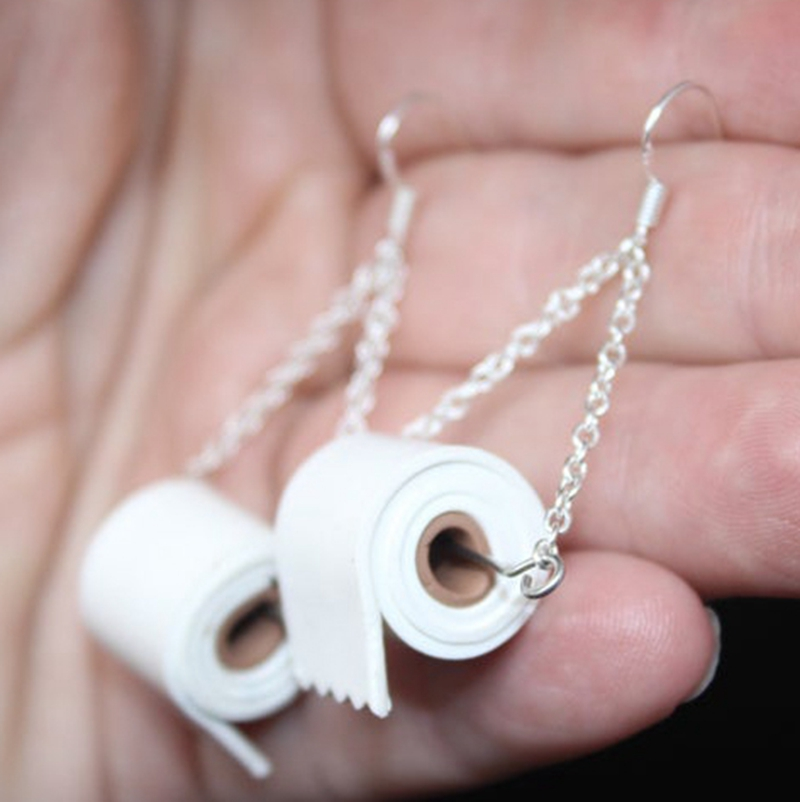 2020 Creative Paper Towel Toilet Paper Earrings <font><b>Viral</b></font> Gag Gift Roll Paper Acrylic Earrings image