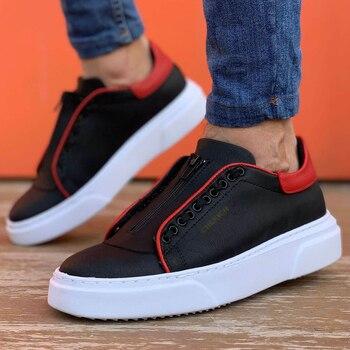 цена на Chekich CH092 MBT Mens Shoes BLACK/RED. 100 Vegan 100 Cotton Shoe sneaker air van chaussure loafer trainer uomo money