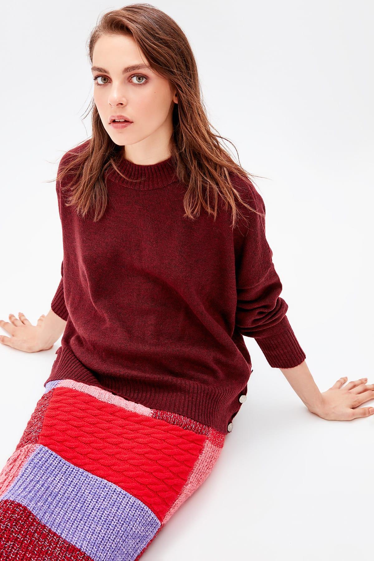 Trendyol WOMEN-Burgundy So Button Detail Sweater TWOAW20ZA0002