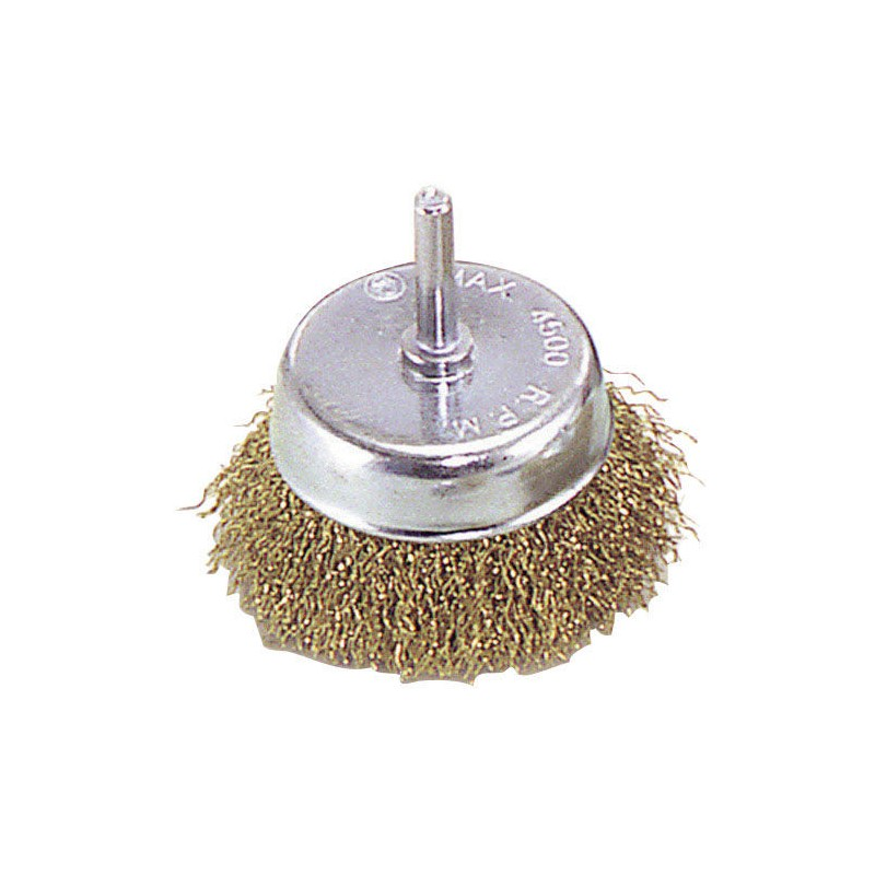 Steel Brush Brass Plated Cup 50mm. 1/4