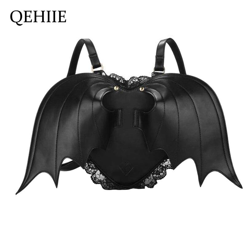 Women Backpack Bat Wing Backpack Punk Stylish Newest School Bag for Girls Bat Bag Angel Wings Backpack Cute Little Devil Package