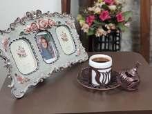 Türk kahve fincanı iç porselen, espresso fincanı Metal tutucu, fincan tabağı ve kapak, vintage lale tasarım bakır renk