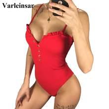 2020 Sexy Bandeau Full Back Button Up costumi da bagno da donna costume intero costume da bagno femminile a costine costume da bagno costumi da bagno Beach V1212