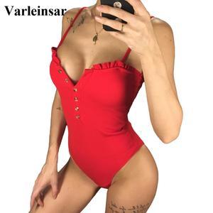 2020 Sexy Bandeau Full Back Button Up Women Swimwear One Piece Swimsuit Female Bather Ribbed Bathing Suit Swim Wear Beach V1212(China)