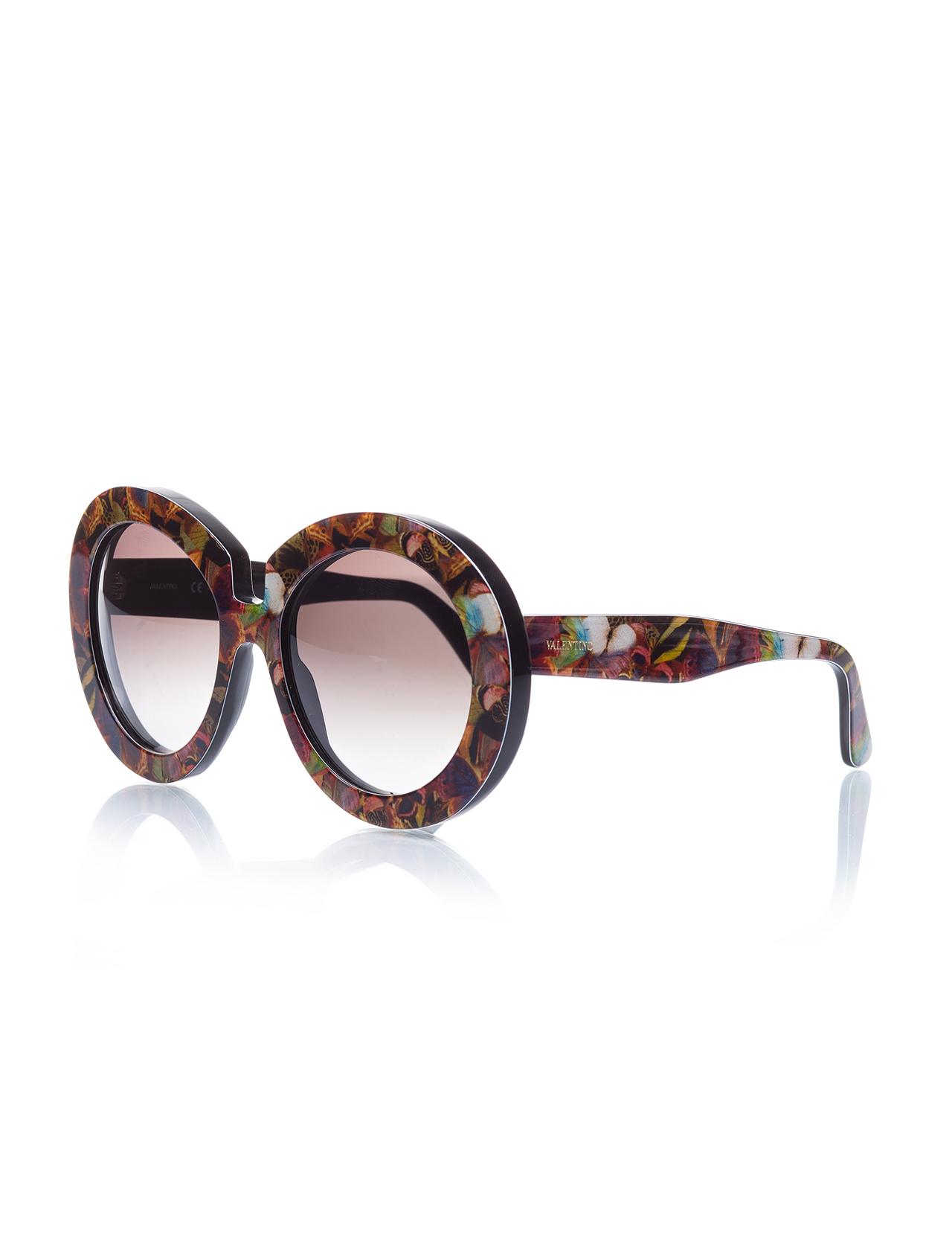 Women's sunglasses val 707 961 bone color organic round round 58-16-140 valentino