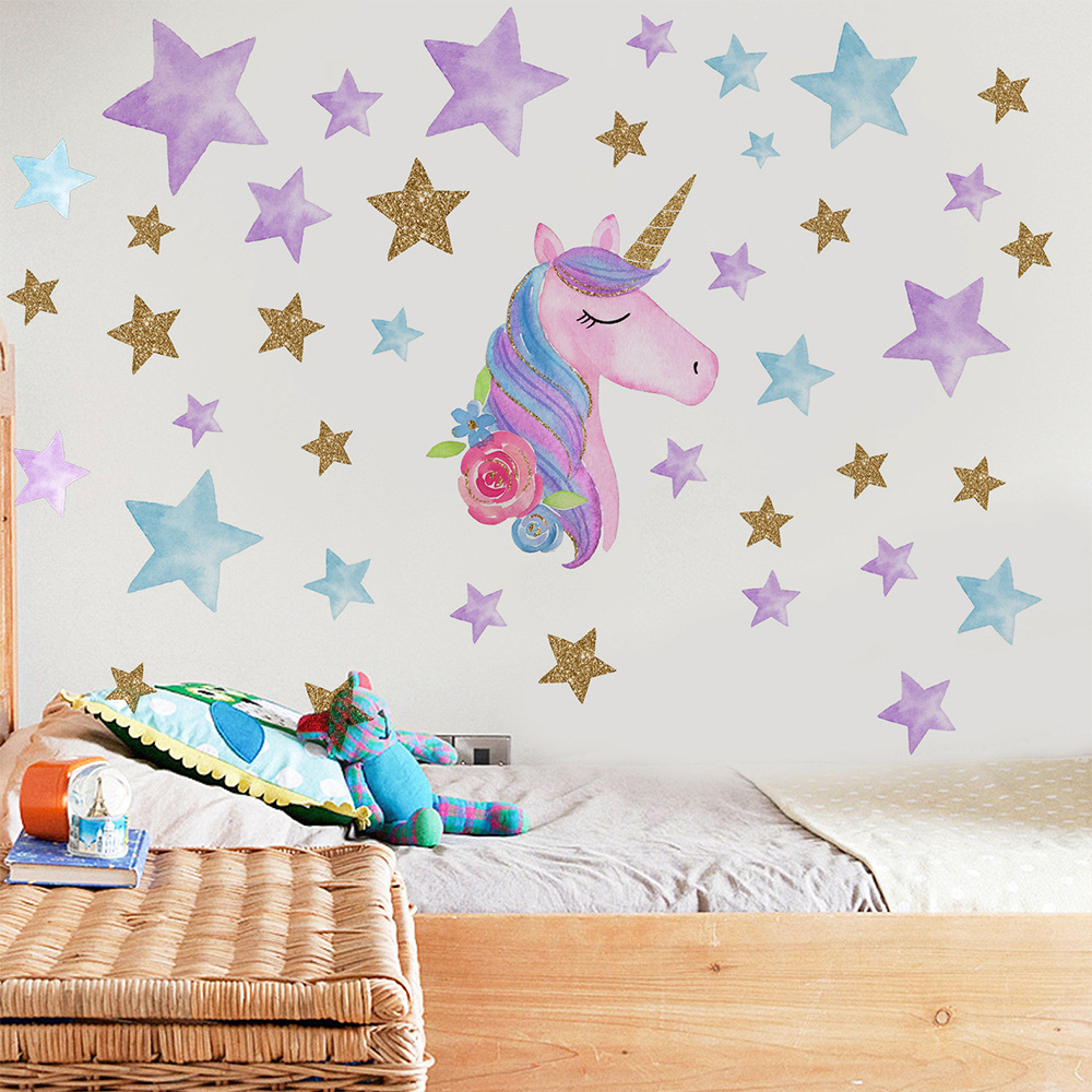 Cartoon Rainbow Unicorn Wall Stickers For Kids Room Self Adhesive Wallpaper Children Bedroom Home Decor Nursery Decorative Decal Wall Stickers Aliexpress