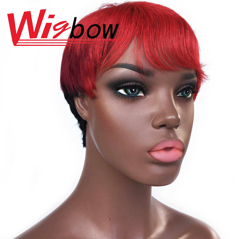 Short Human Hair Wig With Bang Balayage Wig Highlight Ombre Wig Red Pink Cheap Wig Brazilian Virgin Hair Straight Trip Color Wig