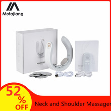 Smart Electric Neck and Shoulder Massager Portable Pulse Neck Massager Rechargeable USB Cervical Traction Therapy Health Care health care smart rechargeable usb infrared heating neck massager electric relax cervical treatment acupuncture stimulator