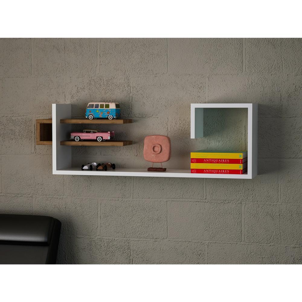 Estante y estante Hecho en Turquía estante moderno blanco-marrón sala de estar madera pared libro titular organizador estantería estante estantería