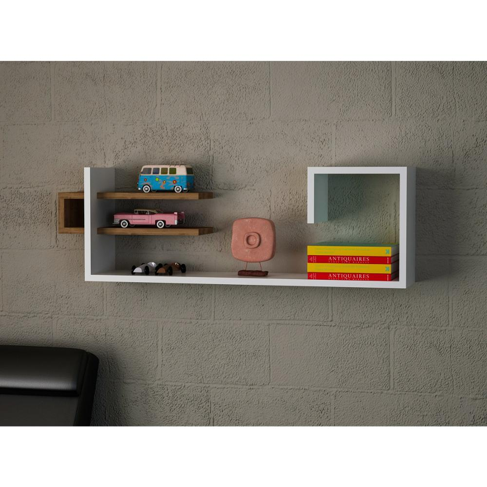Shelf&Shelf MADE IN TURKEY Modern Shelf White-Brown Living Room Wood Wall Book Holder Organizer Bookshelf Rack Bookcase
