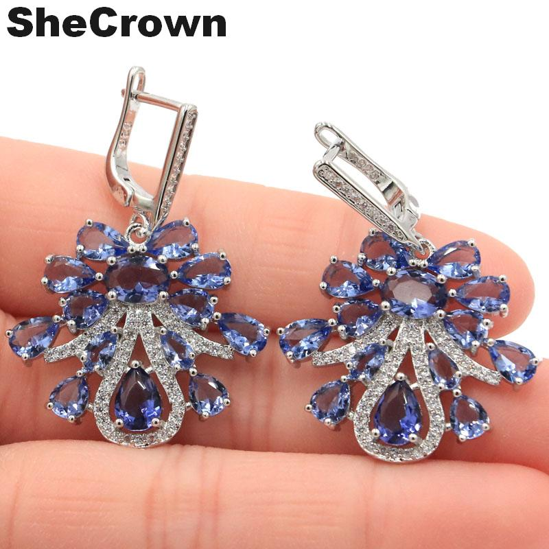 Classic Long Big Drop Rich Blue Violet Tanzanite, White CZ Womans Party 925 Silver Earrings 67x35mm