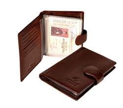 Porta tarjetas y documentos multifuncionales Unisex Bon Voyage hecho de cuero genuino