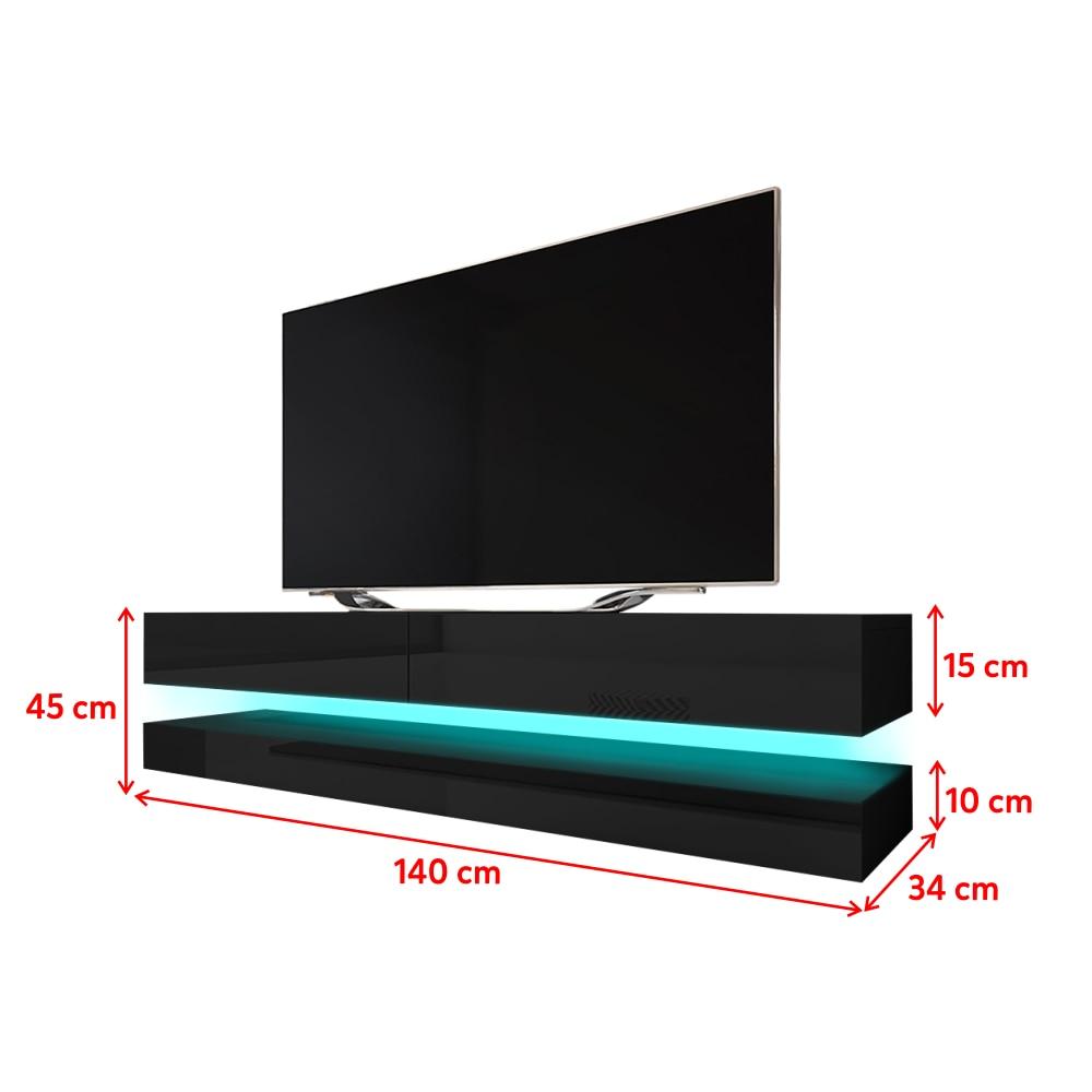 HYLIA Meuble TV suspendu (140 cm, noir mat / noir brillant avec LED) 5