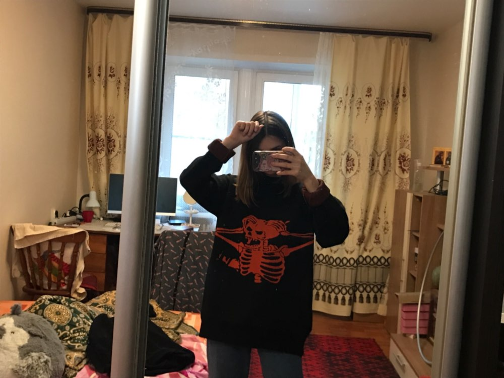 Egirl Eboy Grunge Oversized sweater with skull pattern photo review