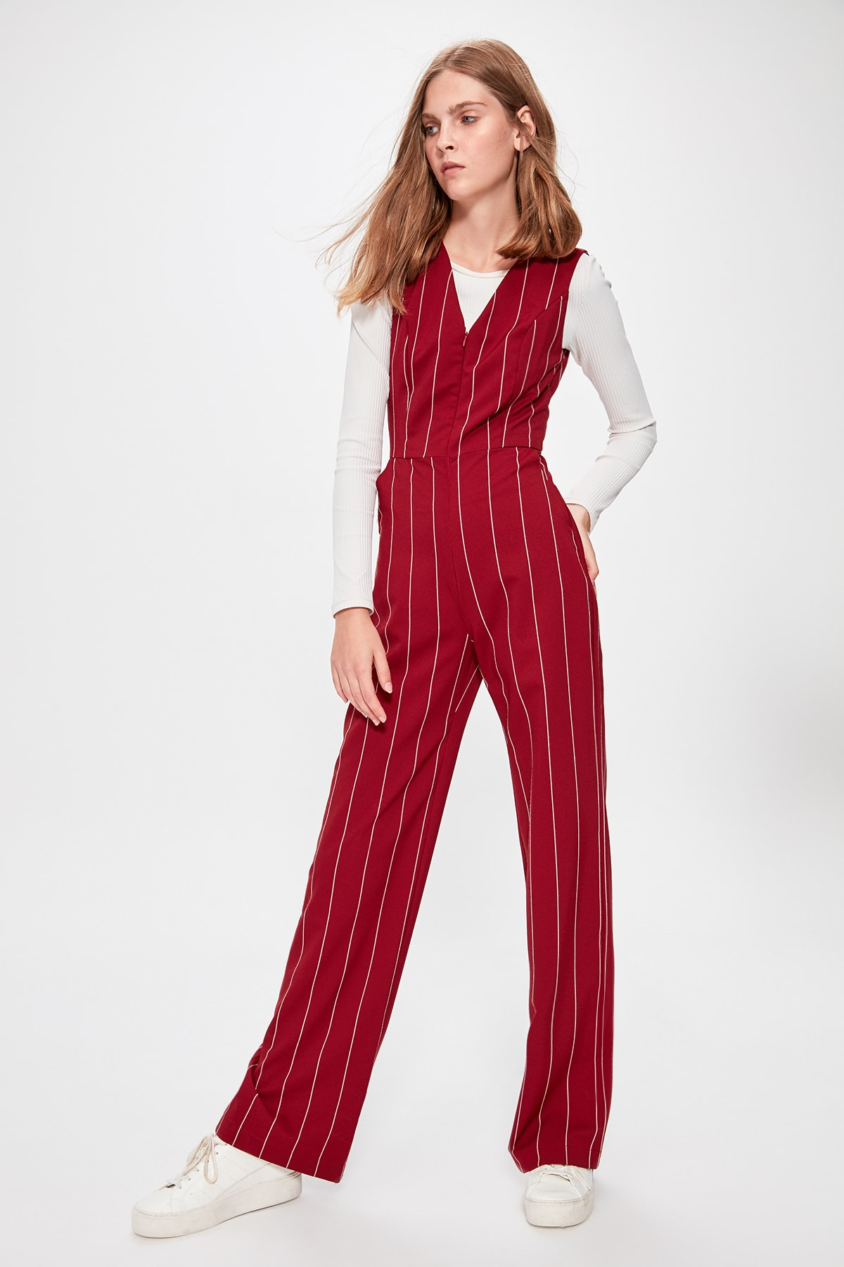 Trendyol Burgundy Striped Jumpsuit TWOAW20TU0053