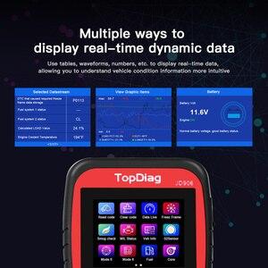Image 4 - Автомобильный сканер двигателя TopDiag OBD2 JD906, считыватель кодов автомобиля, диагностический инструмент, очистка кода неисправности, проверка смога, батарея, тест TFT цветной экран