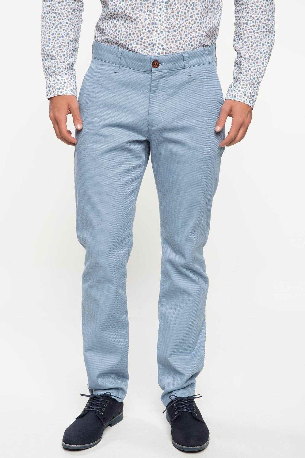 DeFacto Fashion Men's Suit Trousers Leisure Classic Business Long Pants Male Casual Zipper Casual Stright Pants Blue-I7694AZ18SM
