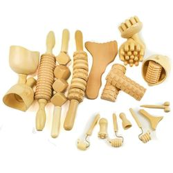 Kit Maderoterapia corporal, anticelulítico y facial profesional 18 elementos