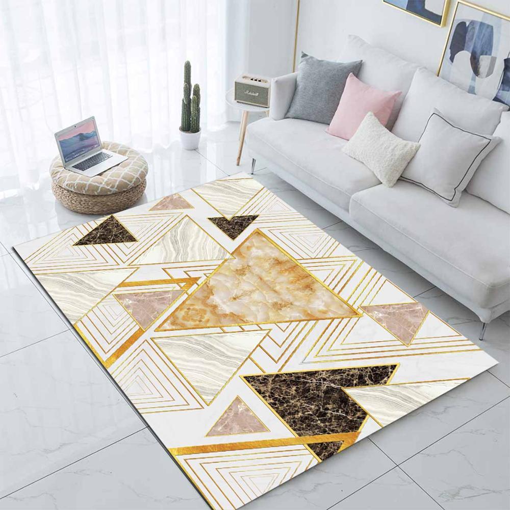 Autre jaune Beige crème Triangles abstrait 3d impression antidérapant microfibre salon moderne tapis lavable zone tapis