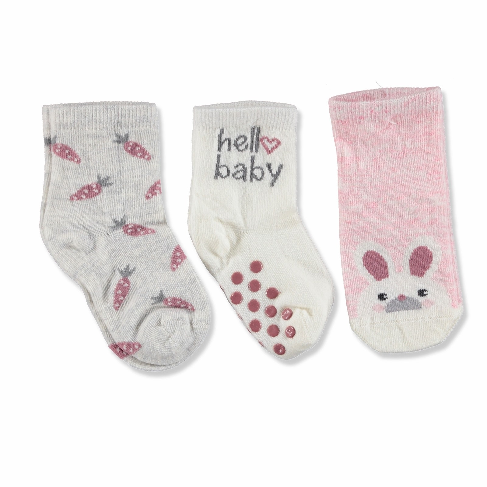 Ebebek Step 3 Pack Baby Socks Six Printed Rabbit
