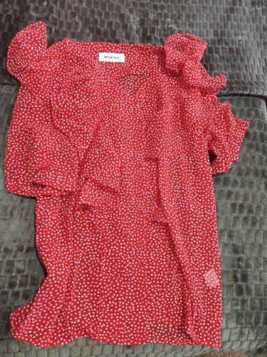 Spring Female Polka Dot Chiffon Shirt Ruffle Casual V Neck 3/4 Sleeve Tops photo review
