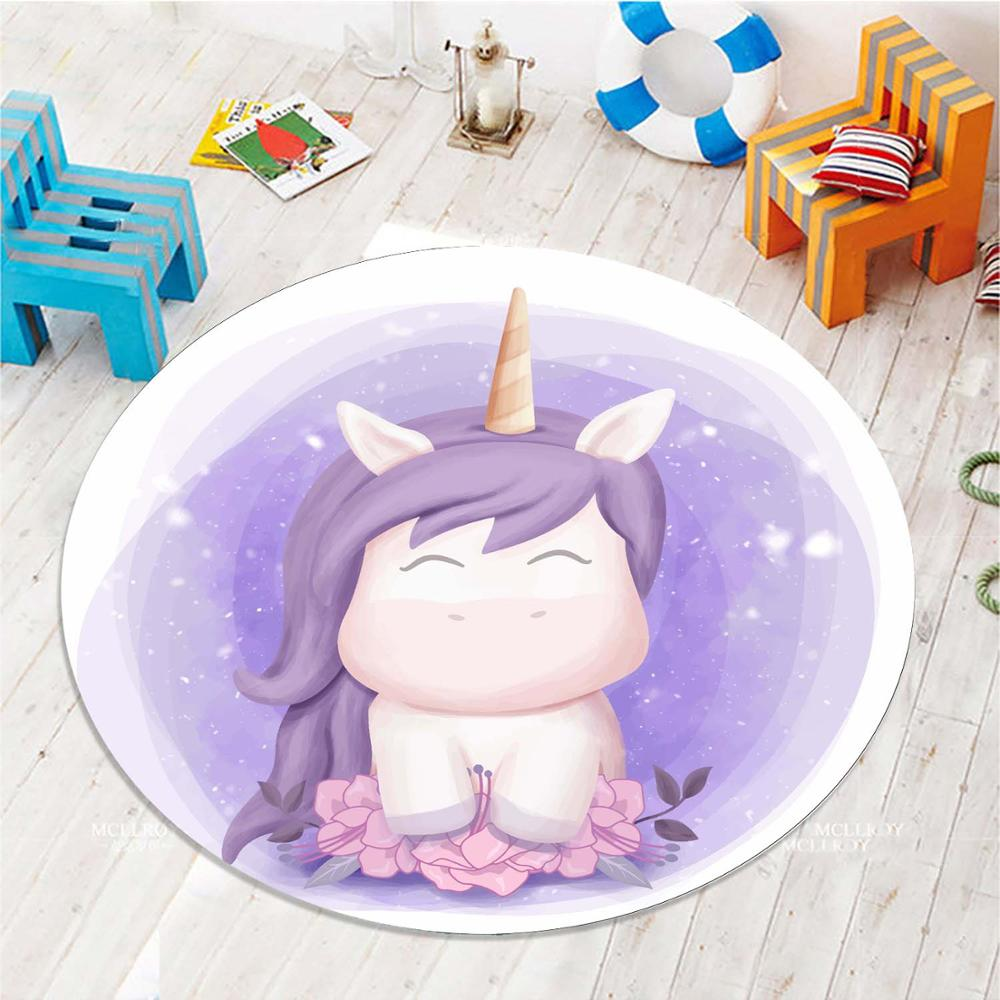 Else Purple Little Unicorn Horses Girls 3d Pattern Print Anti Slip Back Round Carpets Area Rug For Kids Baby Children Room