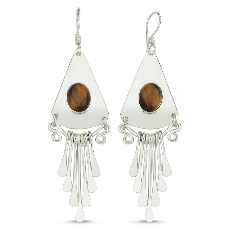 Silver 925 Sterling Tiger Eye Stone Dangle Hand Handwork Earrings