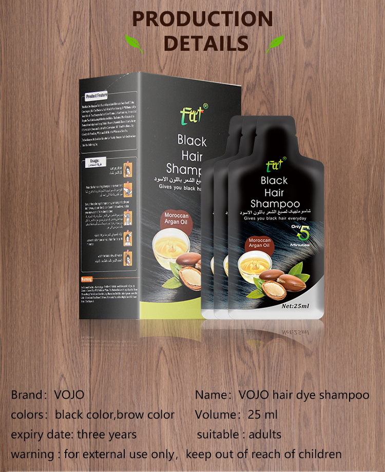 VOJO 1 Pcs Lot Black Hair Shampoo Hair Color Natural Instant Hair Dye Only 5 Minutes White Grey Hair Cover Up Long Lasting