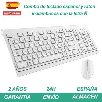 Teclado español inalámbrico con Ñ y ratón wireless para teletrabajo Teclas Estánder...