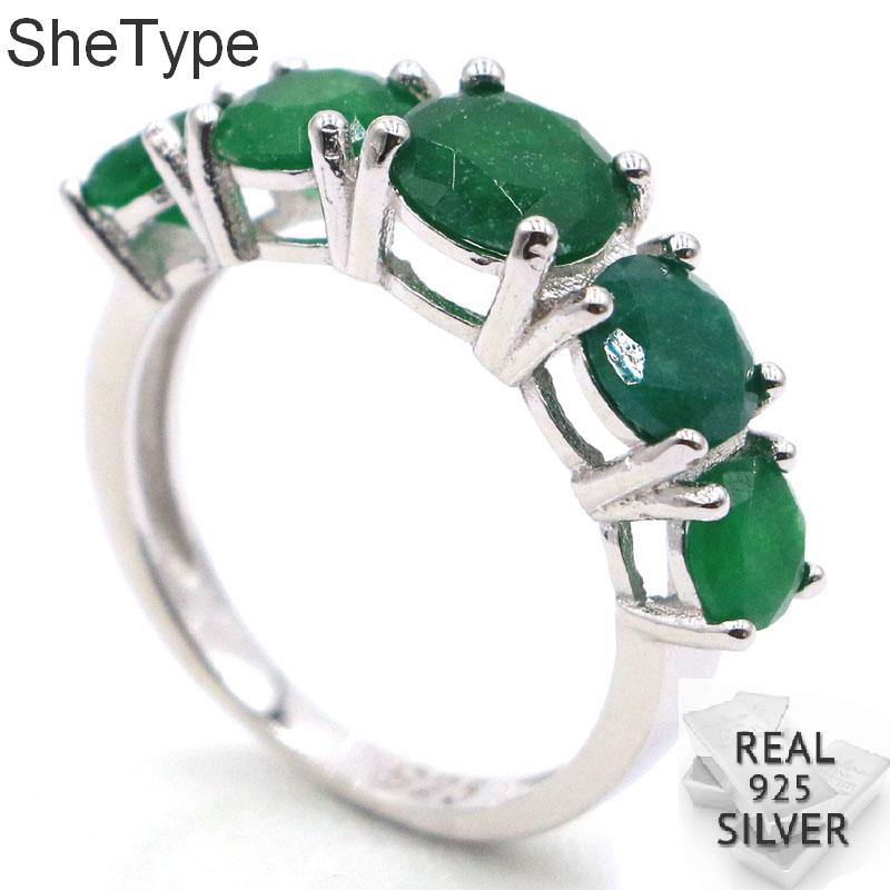 25x7mm SheType 3.9g Real Green Emerald Ladies Gift 925 Solid Sterling Silver Rings