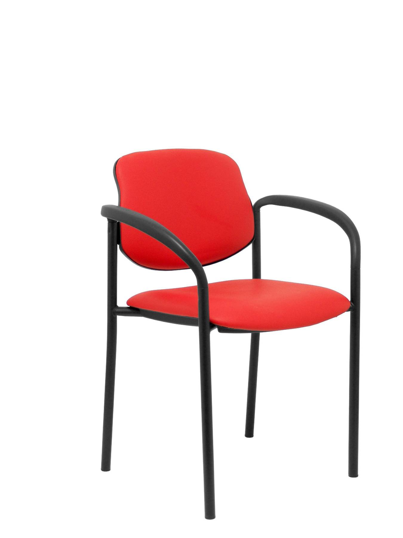 Visitor Chair 4's Topsy, With Arms And Estructrua Negro-up Seat And Backstop Upholstered In Tissue Similpiel Red PIQUE