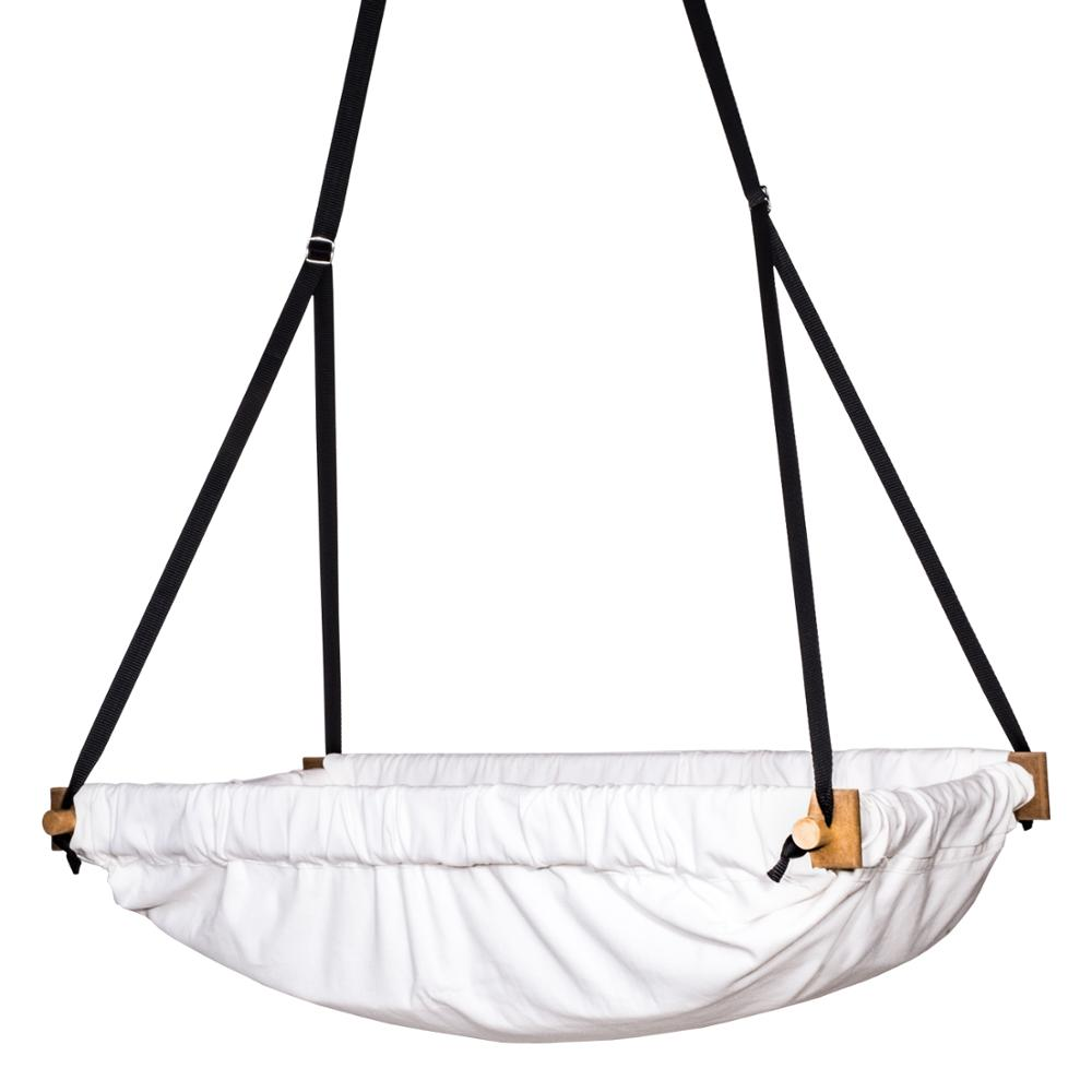 Nursery Organic Raw Fabric Wooden Bassinet Swing Hammock For Toddler, Baby And Svava Jumper Wooden Hammock Swing Cradle