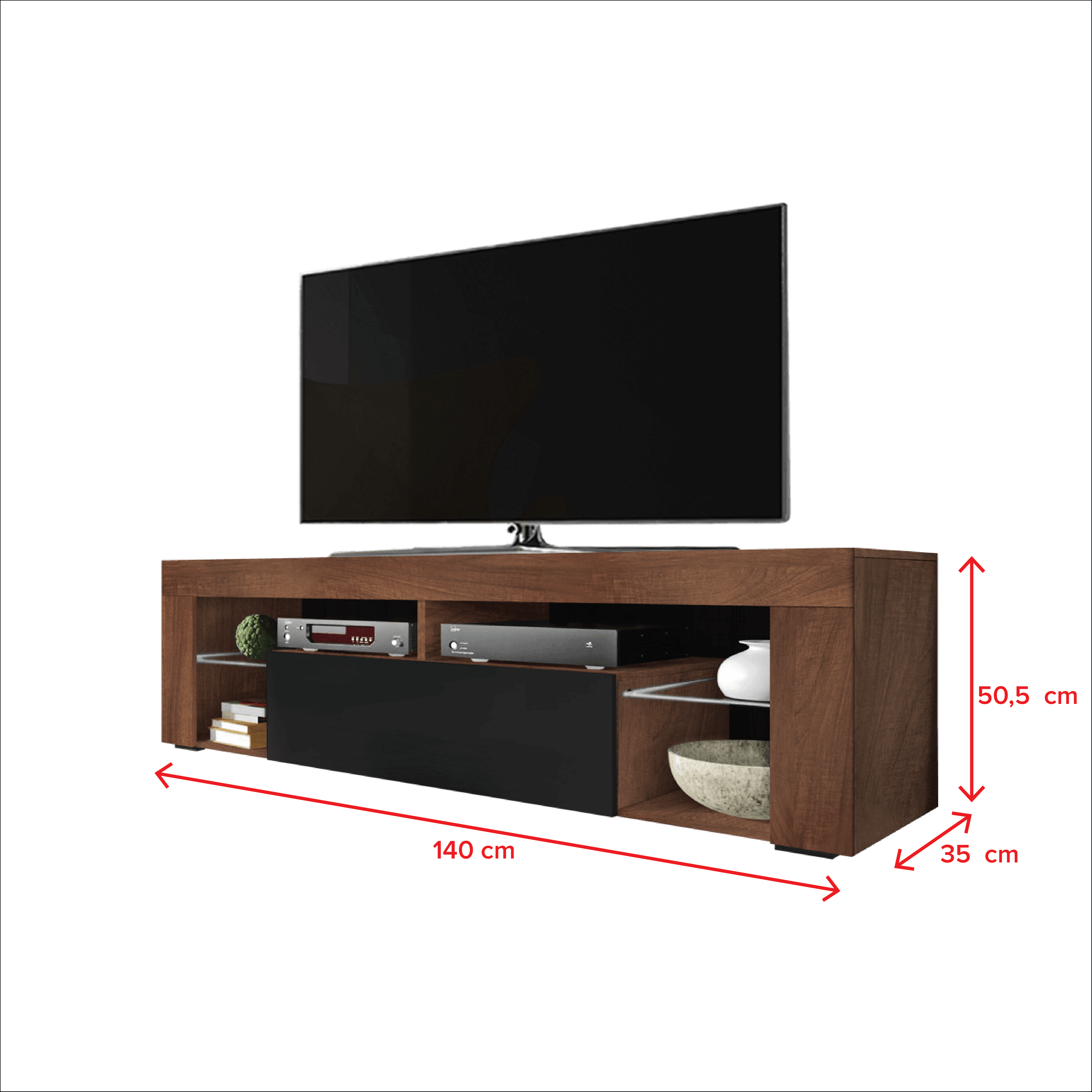 SELSEY BIANKO - meuble TV (140 cm, noix/noir brillant - sans LED) 4