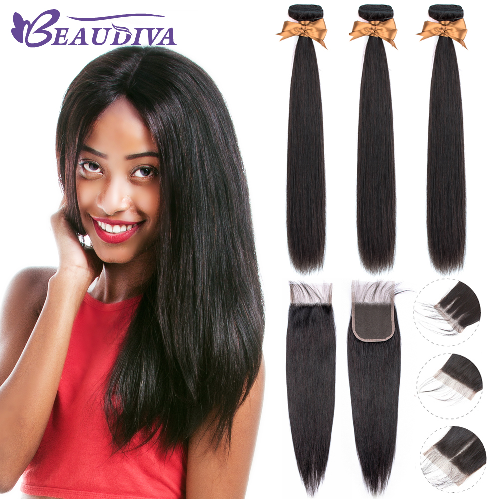 BEAUDIVA Human Hair Bundles With Closure Natural Color Peruvian Straight Hair Weave Bundles With Closure